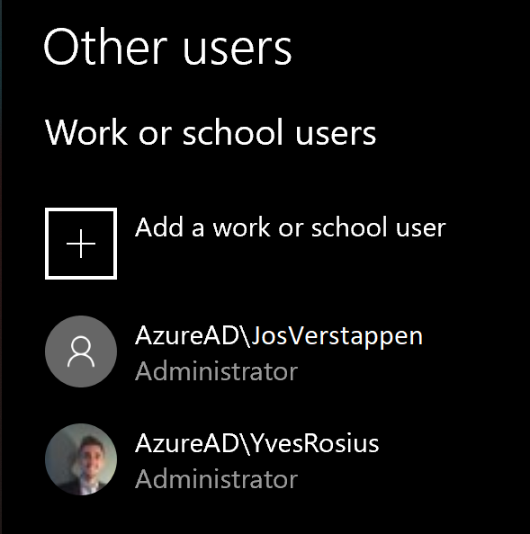 Other users Work or school users Add a work or school user